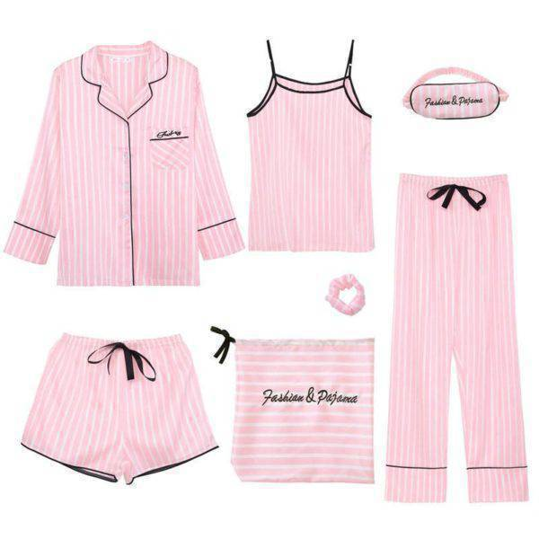 Women's Silk Striped Pajamas Set 7 Pcs Suits & Sets Women's Clothing Women's Intimates Women's Sleepwears