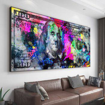 Wall Art Gold Modern Popular Colorful Hundred Money Abstract Wall Art Pictures Poster