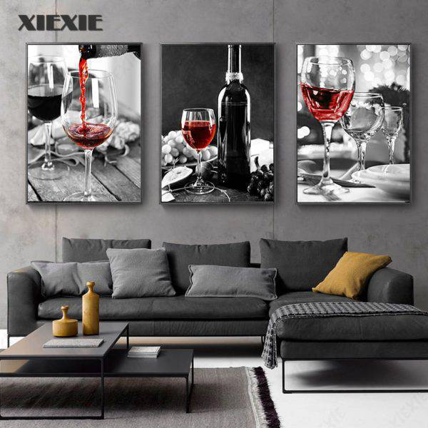 Red Wine and Bottle Kitchen Poster Wall Art