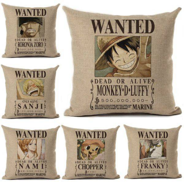 One Piece Wanted Printed Pillow Cover