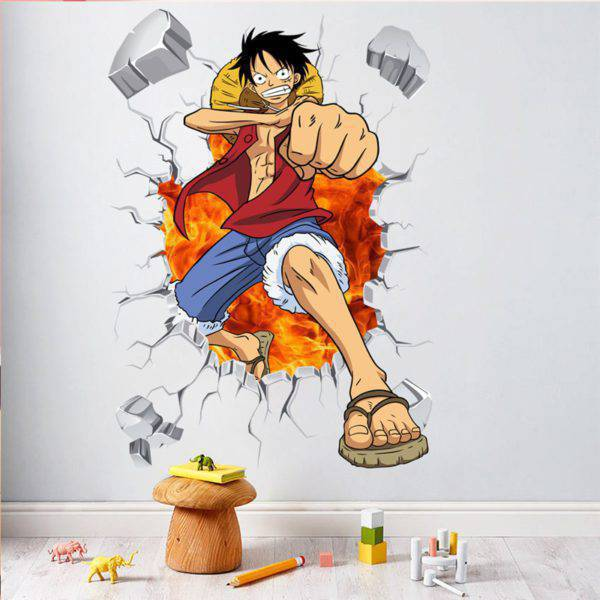 One Piece Luffy Anime Breakout 3D Wall Removable Sticker